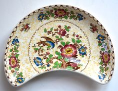 RARE Yellow and Brown Polychrome Two Color #Transferware Antique English Crescent Shaped Dish #nancysdailydish #yellow