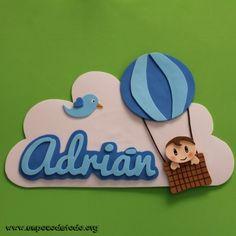 www.unpocodetodo.org - Cartel de Adrián - Carteles - Goma eva - air balloon - animales - animals - baby - balloon - bebe - birds - birthday - crafts - cumpleaños - custom - customized - foami - foamy - globo - manualidades - pajaros - personalizado - 5