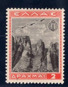 Greece Air Post Stamp 1940 , 2 drachmas. Meteora Monasteries near Taikkala