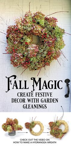 Watch this video to learn how to make a hydrangea wreath in just 10 minutes. Outdoor Christmas Decorations, Fall Decorations, Christmas Wreaths, Christmas Crafts, Holiday Decor, Diy Garden Projects, Craft Projects, Craft Ideas, Nature Crafts