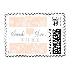 Peach Linen Damask Wedding Stamp