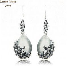Lemon Value 925 Sterling Silver Jewelry Retro Vintage Charms Rhinestone Crystal Bijoux Women Stud Earrings Brincos Gift B044