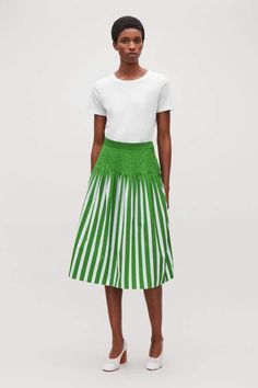 53518a9c83 Cos PRINTED PLEATED SKIRT Stripe Skirt