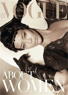 Naomi Campbell covers the February 2013 issue of Vogue Italia wearing a Blumarine dress and Carolina Amato gloves. Photographed by Steven Meisel and styled by Karl Templer.