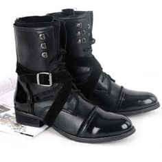 Men Black Patent Leather Lace Up Military Goth Style Dress Boots SKU-1280549