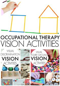 Activities, tips,and ideas for Occupational Therapy vision therapy and visual perceptual integration skills in children.  Parents and teachers of students with low-vision or visual processing difficulties will find many ideas here.  Occupational Therapists can use this as a resource in treatment with pediatrics.