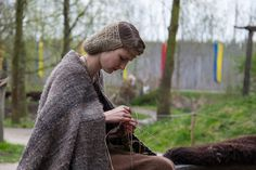 bronze age reenactor at Archeon in 2012 with sprang hairnet