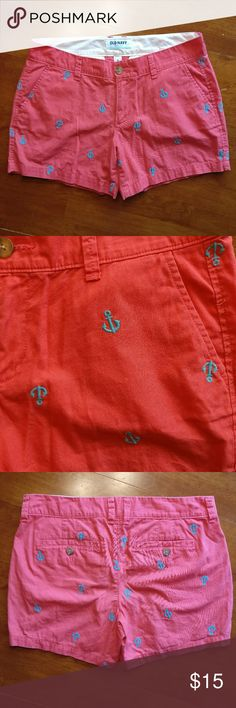 """Old Navy Cotton w/ Embroidered Anchors Shorts Old Navy  """"Rebel Red"""" (color listed on the tag) - these are definitely a bright, pinkier red color.  100% cotton shorts.  Embroidered, turquoise anchors add a fun, cute touch!  Gently used, great condition.  Measurements laying flat & unstretched:  Waist (across top): 15.5"""" Inseam: 4.5"""" Old Navy Shorts"""