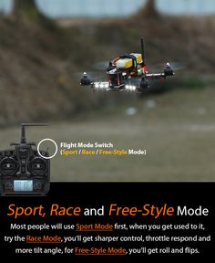 Most people will use <Sport Mode> first, when you get used to it, try the< Race Mode>, you'll get sharper control, throttle respond and more tilt angle, for< Free-Style Mode>, you'll get roll and flips. http://www.helipal.com/storm-racing-drone-rtf-type-b.html