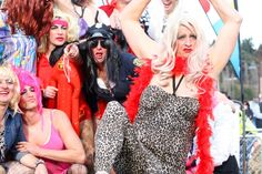 """The """"Queens"""" of Queenstown Drag Race - always a local favourite as the well known business men of Queenstown get dressed for action {Photo: Queenstown Winter Festival Business Men, Winter Festival, International Festival, Big Party, Get Dressed, Festivals, Queens, Action, Halloween"""