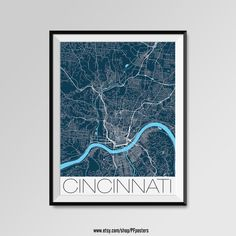 Cincinnati map, Cincinnati print, Cincinnati poster, Cincinnati map art, Cincinnati gift  More styles - Cincinnati - maps on the link below https://www.etsy.com/shop/PFposters?search_query=Cincinnati
