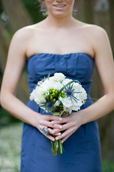 Blue thistles and navy dress, perfect!