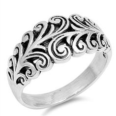 Filigree Style Celtic Swirl Genuine Sterling Silver Ring Size 3-12