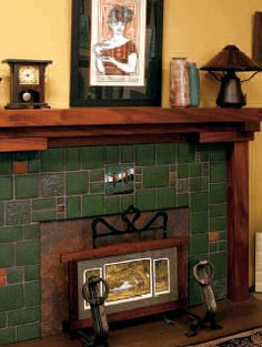 Craftsman style tiled fireplace