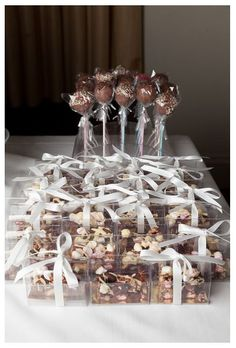 Mini Rocky Road and cake pops make great wedding favours and extra evening treats