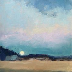 """Daily Paintworks - """"Moonrise Over Dory Beach"""" - Original Fine Art for Sale - ©…"""