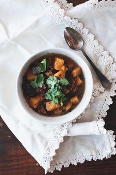 Black bean, bacon & butternut squash soup