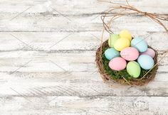Easter eggs in nest decoration by LiliGraphie on @creativemarket
