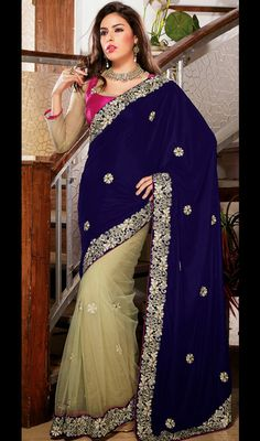Unique Buttercream and Blue Half N Half Saree Price: Usa Dollar $146, British UK Pound £86, Euro108, Canada CA$159 , Indian Rs7884.