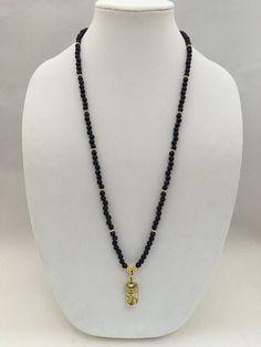 Blue Sandstone 22K Gold Dip Necklace