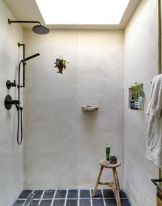 Bathroom Decor Ideas : Description A Spanish-Style Compound for Indoor-Outdoor Living in L.: The bathroom features a concrete shower stall, vintage tile from the and a rock from Big Sur that the couple embedded into the wall as a soap dish. Spanish Style Bathrooms, Spanish Style Homes, Spanish Bathroom, Bad Inspiration, Bathroom Inspiration, Bathroom Inspo, Bathroom Taps, Shower Bathroom, Master Shower