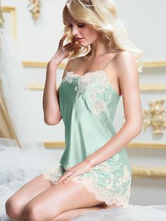 Victoria's Secret Lace Appliqué Satin Slip (mint/ ivory) $49.50