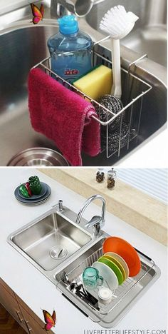12 Amazing Kitchen Sink Organization Ideas #kitchenorganizationideas 12 Amazing Kitchen Sink Organization Ideas #bathroomorganizationideas Having a clean and organized kitchen eases your tasks much better than a cluttered one. These are my 12 amazing kitchen sink organization ideas to help you!<br> Having a clean and organized kitchen eases your tasks much better than a cluttered one These are my 12 amazing kitchen s Best Kitchen Sinks, Smart Kitchen, Diy Kitchen, Kitchen Gadgets, Cool Kitchens, Kitchen Decor, Organized Kitchen, Studio Kitchen, White Kitchens
