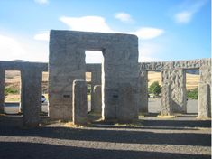 "A full-scale replica of Stonehenge stands in Maryhill, Washington. It was dedicated in 1918 to residents who died in World War I. Its builder, Samuel Hill, visited the ancient monument during the war, and was told it was used for human sacrifice by the Druids. Hill connected this story with the loss of life during the Great War, and built the replica as a reminder of those sacrifices and the ""incredible folly"" of the war, according to the Maryhill Museum of Art."
