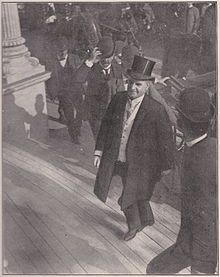 The 25th President of the United States, William McKinley, was assassinated on September 6, 1901, inside the Temple of Music on the grounds of the Pan-American Exposition in Buffalo, New York. McKinley was shaking hands with the public when he was shot by Leon Czolgosz, an anarchist. The President died on September 14 from gangrene caused by the bullet wounds. This is the last known photograph of him taken as he arrives at the Temple of Music.