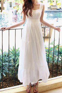 White Maxi Dress ==