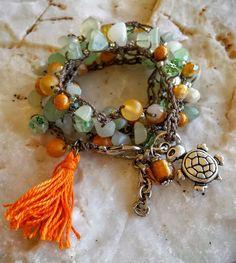 Five Wrap Crochet Bracelet & Long Boho Crochet Necklace, Bohemian Beach Jewelry,Trendy, Beaded Jewelry,Tassel Necklace, Turtle Charm,Orange Agate Gemstone ,Chip  Jade Gemstone Beads