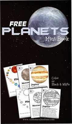 FREE Planets Book to teach kids about our solar system Print in color or black and white with handy information about each of the planets Perfect for homeschool science p. Kid Science, 1st Grade Science, Earth And Space Science, Science Classroom, Science Lessons, Teaching Science, Teaching Kids, Fun Learning, Science Books