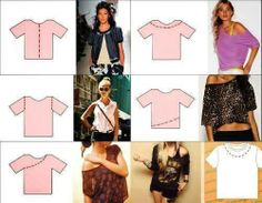 Diy how to cut shirts Shirt Refashion, T Shirt Diy, Old Shirts, Cute Shirts, Diy Old Tshirts, Diy Cut Shirts, Diy Clothes Projects, Diy Vetement, Ideias Diy