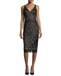 Sleeveless Embroidered Cocktail Dress, Black/Taupe by David Meister at Neiman Marcus.