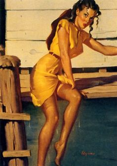Gil Elvgren - He Was Neither A Gentleman Nor A Sculler, 1948