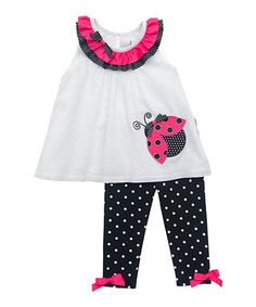 Black & White Ladybug Tunic & Leggings - Infant