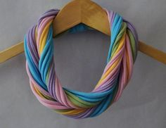 T-Shirt Scarf in Pastel Rainbow (Pink, Purple, Yellow, Green, & Blue ($16)   Etsy. #spring #fashion