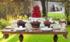 table-scape using beautiful strawberries as the focal point.