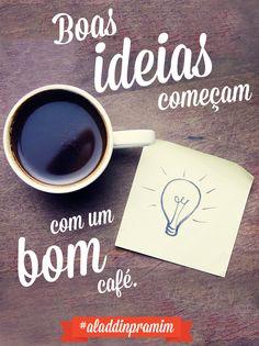 Café na mesa, ideias na cabeça. Foco, foco, foco! Coffee And Books, I Love Coffee, My Coffee, Momento Cafe, Ikea Spice Rack, Coffee Cafe, Beauty Quotes, Barista, Digital Marketing