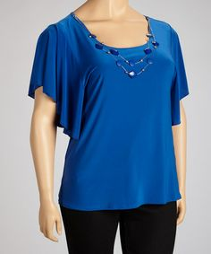 Another great find on #zulily! Royal Blue Necklace Cape-Sleeve Top - Plus #zulilyfinds