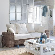 One of my many targets is to become successful and buy a holiday house by the beach, and make it the most calm and relaxed environment there is. The vintage white and pale blues in this room are perfect. Outdoor Sofa, Outdoor Furniture Sets, Nautical Interior, Dream Beach Houses, House By The Sea, Beach Design, Beach Condo, Terrazzo, Coastal Living