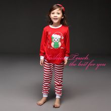 2015New love sign kids christmas Clothing Set Longsleeve Red Owl T Shirt +Stripe Pantschildren outerwear casual girl's suits(China (Mainland))