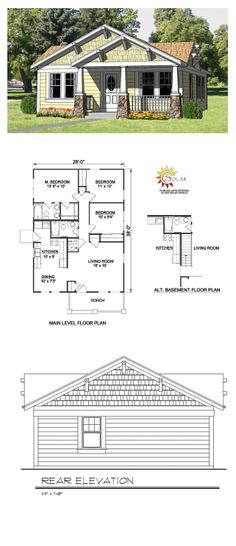 Craftsman Style COOL House Plan ID: chp-27990   Total Living Area: 1064 sq. ft., 3 bedrooms & 2 bathrooms. #houseplan #craftsmanstyle