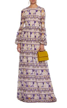 Giambattista Valli Floral Embroidered Cotton-Blend Gown