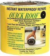 Cofair Aluminum Quick Roof Tape: Instant waterproof repair and re-roofing. Self-stick aluminum surface. Just press into place for a permanent repair. Five puncture resistant layers. 10 year material INCHES X FEET