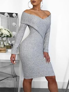 Cross Over Off Shoulder Bodycon Dress Classy dress outfits Trendy Dresses, Modest Dresses, Tight Dresses, Elegant Dresses, Sexy Dresses, Nice Dresses, Casual Dresses, Fashion Dresses, Dresses For Work