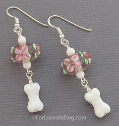 Pink Floral Dog Bone Earrings Sterling Silver  - handmade and one of a kind jewelry at www.ForLoveofaDog.com