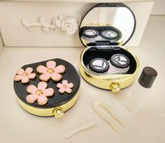3D Alloy Flower Contact Lenses Case in by AlonmyCrystalCrafts