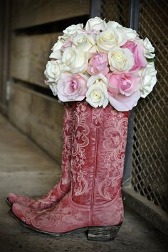 Pink Cowboy Boots - Silver and Pink Country Dade City Wedding – Barrington Hill Farm