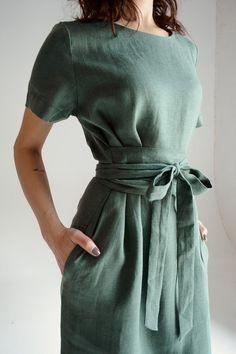 Linen Dresses, Casual Dresses, Short Dresses, Linen Summer Dresses, Dress Long, Tunic Dresses, Linen Tunic Dress, Smocked Dresses, Wrap Dresses